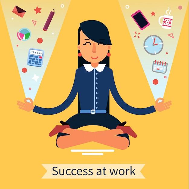 Geschäftsfrau in der yoga-haltung, welche die balance bei der mehrprozeßarbeit sucht Premium Vektoren