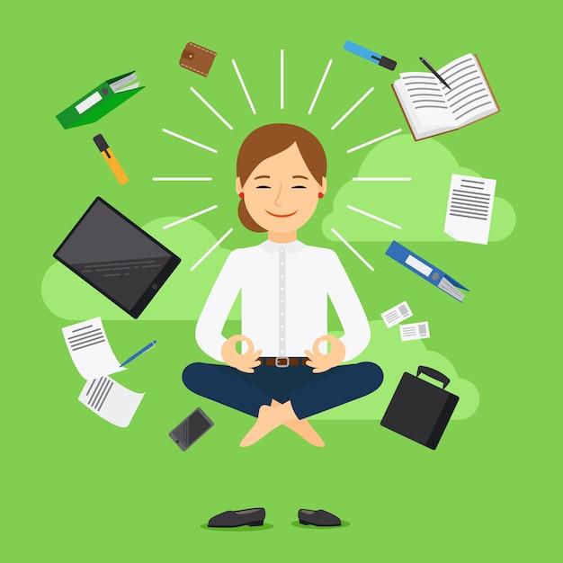 Geschäftsfrau in meditierender position auf grünem hintergrund Premium Vektoren