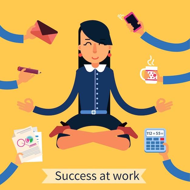 Geschäftsfrau in yoga-pose-multitasking-arbeit Premium Vektoren