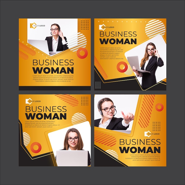 Geschäftsfrau instagram beiträge vorlage Kostenlosen Vektoren