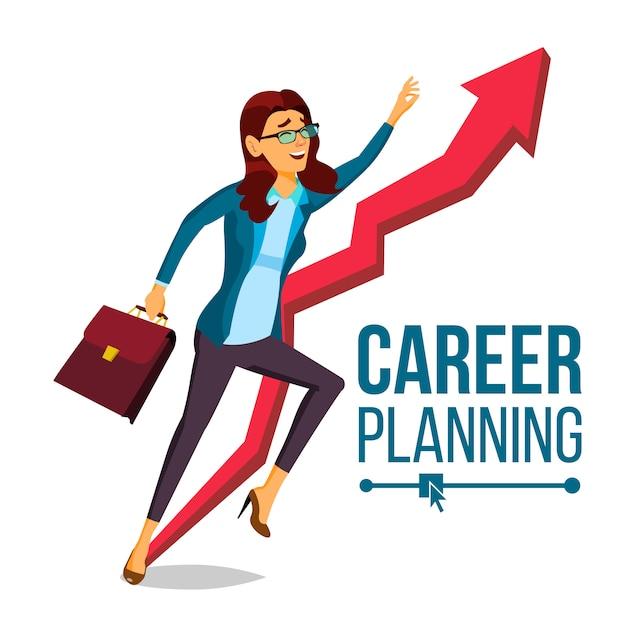 Geschäftsfrau karriereplanung Premium Vektoren