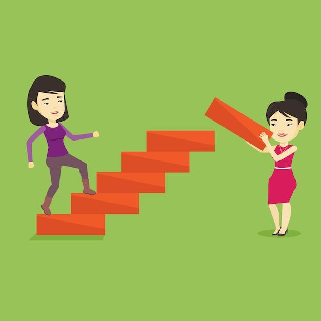 Geschäftsfrau läuft die karriereleiter hinauf. Premium Vektoren
