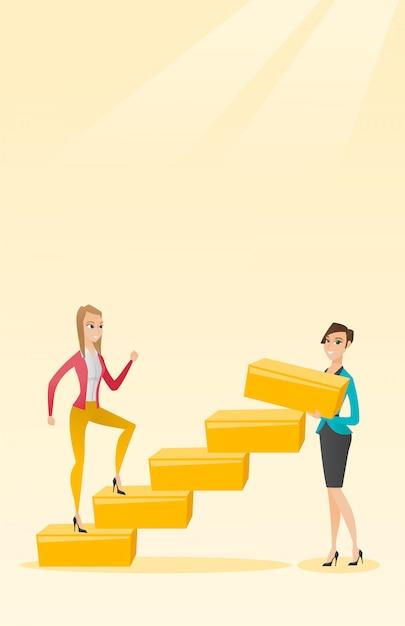 Geschäftsfrau läuft die karriereleiter hoch. Premium Vektoren