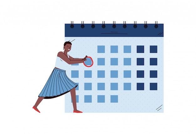 Geschäftsfrau macht notizen auf kalender, skizze vektor-illustration isoliert. Premium Vektoren