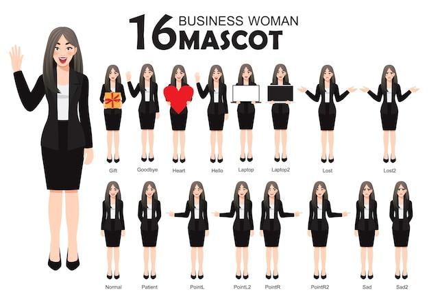 Geschäftsfrau-maskottchen im schwarzen anzug, karikaturcharakterart stellt satzillustration ein Premium Vektoren