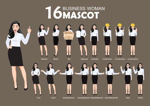 Geschäftsfrau-maskottchen, zeichentrickfigur-stil stellt satzillustration auf Premium Vektoren