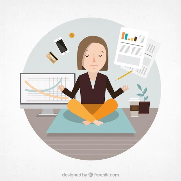 Geschäftsfrau meditiert Kostenlosen Vektoren