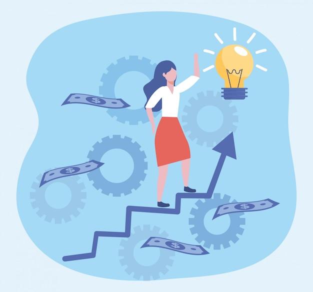 Geschäftsfrau mit birnenidee und rechnungen mit pfeil Kostenlosen Vektoren