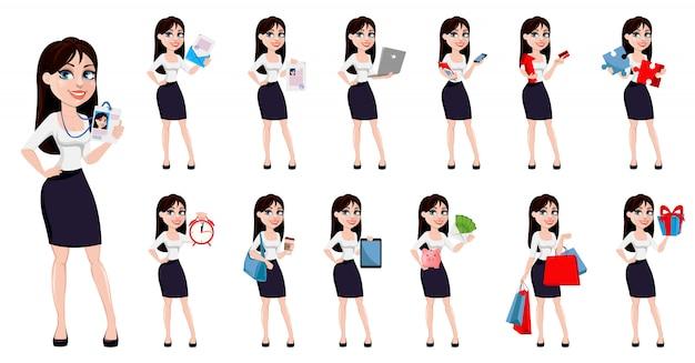 Geschäftsfrau mit braunen haaren Premium Vektoren