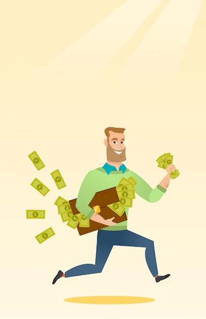 Geschäftsfrau mit dem aktenkoffer voll vom geld. Premium Vektoren