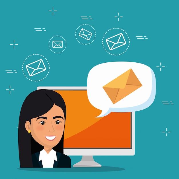 Geschäftsfrau mit e-mail-marketing-ikonen Kostenlosen Vektoren