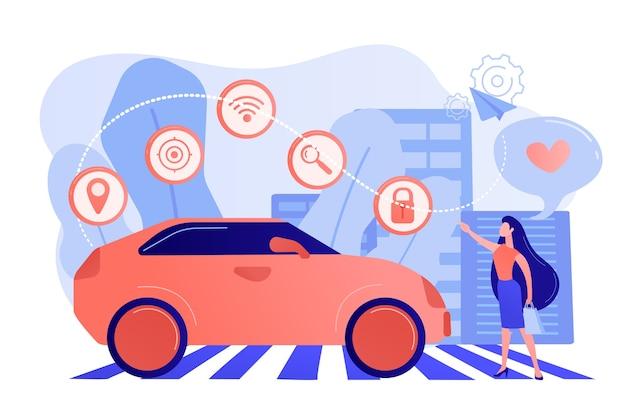 Geschäftsfrau mit herz benutzt gerne autonomos auto mit technologie-ikonen. autonomes auto, selbstfahrendes auto, fahrerloses roboterfahrzeugkonzept Kostenlosen Vektoren