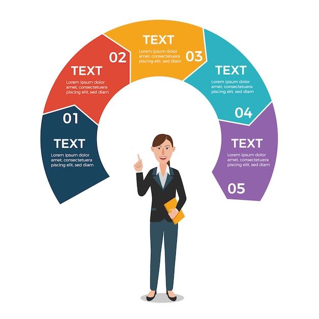 Geschäftsfrau mit infographic schablone der kreispfeile Premium Vektoren