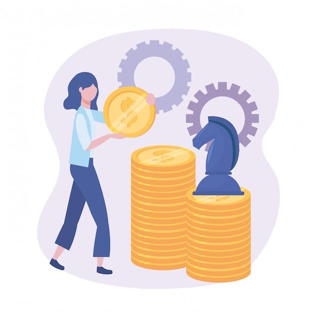 Geschäftsfrau mit münzen und pferdeschach mit gängen Kostenlosen Vektoren
