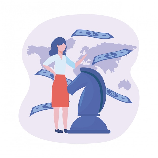 Geschäftsfrau mit pferdeschach und rechnungen mit globaler karte Kostenlosen Vektoren