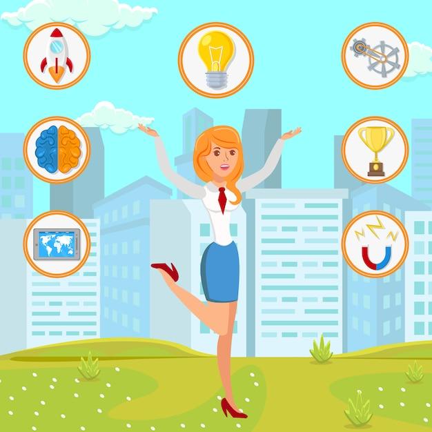 Geschäftsfrau mit startideen-flacher illustration Premium Vektoren