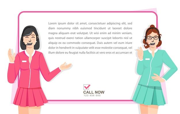 Geschäftsfrau mit zeichen marketing, promotion illustration Premium Vektoren