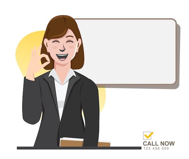 Geschäftsfrau mit zeichen marketing, werbung, werbung für werbung Premium Vektoren