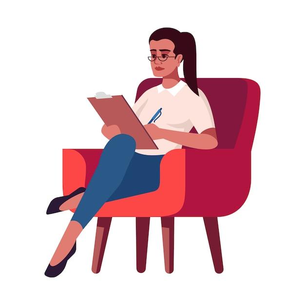Geschäftsfrau mit zwischenablageillustration Premium Vektoren