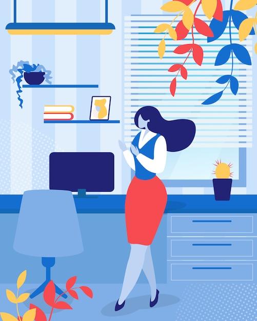 Geschäftsfrau oder büroangestelltsekretär girl Premium Vektoren