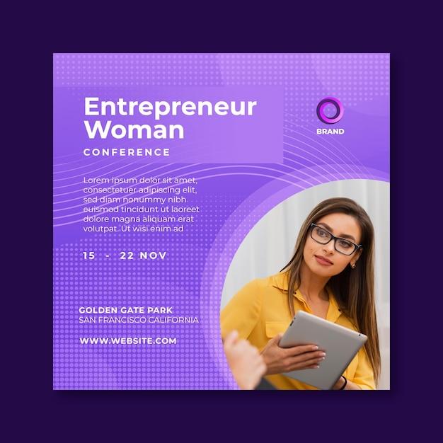 Geschäftsfrau quadratischer flyer Premium Vektoren