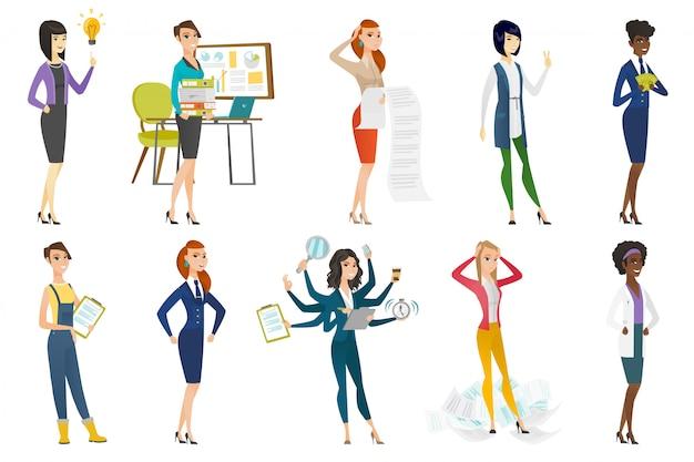 Geschäftsfrau, stewardess, doktorberufsatz Premium Vektoren