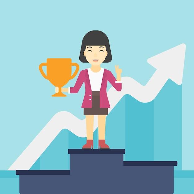 Geschäftsfrau stolz auf ihren geschäftspreis. Premium Vektoren