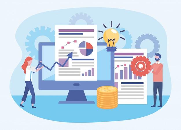 Geschäftsfrau und geschäftsmann mit diagramm- und statistikstabdokumenten Kostenlosen Vektoren