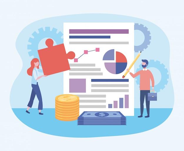 Geschäftsfrau und geschäftsmann mit diagrammdokument und -puzzlespiel Kostenlosen Vektoren