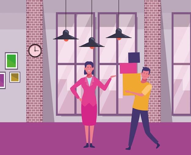 Geschäftsfrau und mann, die kästen halten Premium Vektoren