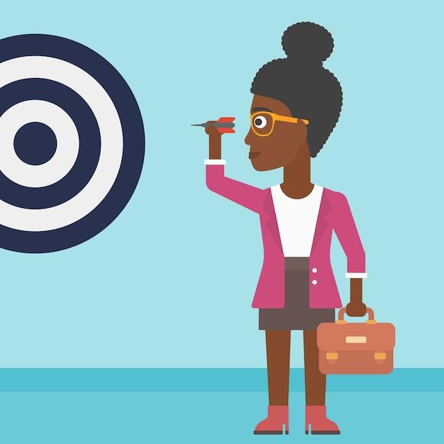 Geschäftsfrau und zieltafel Premium Vektoren