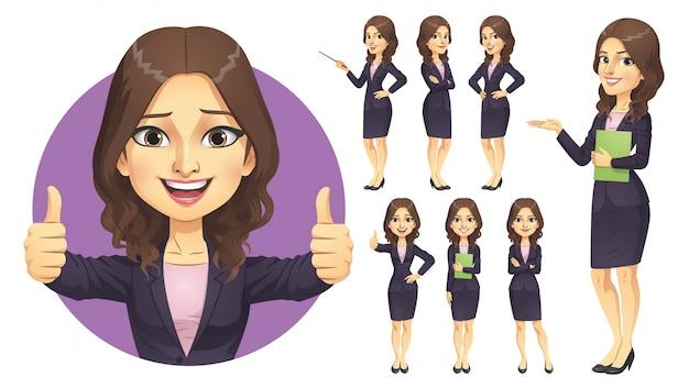 Geschäftsfrau zeichensatz Premium Vektoren