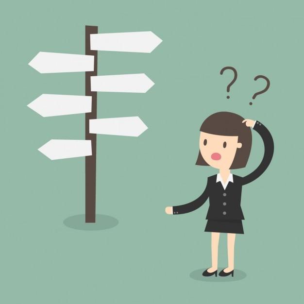 Geschäftsfrau zweifelnde Kostenlosen Vektoren