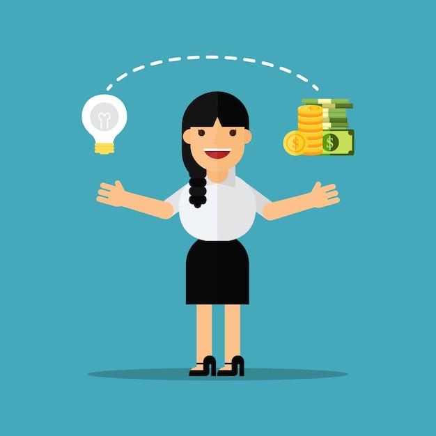 Geschäftsfrauänderungsideen in geld Premium Vektoren