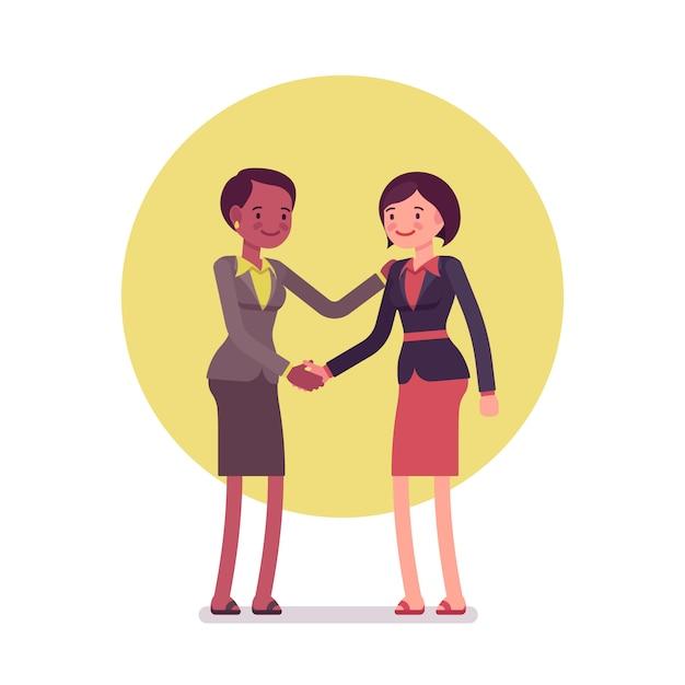 Geschäftsfrauen, die händeschütteln grüßen Premium Vektoren