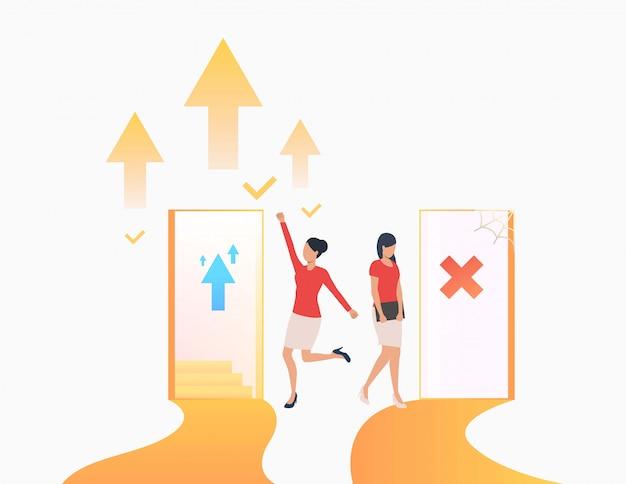 Geschäftsfrauen machen karriere Kostenlosen Vektoren