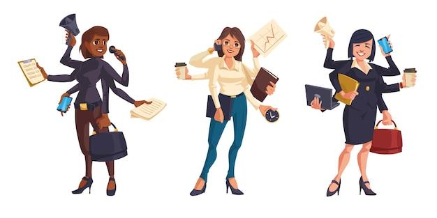 Geschäftsfrauen mit vielen händen isoliert Kostenlosen Vektoren