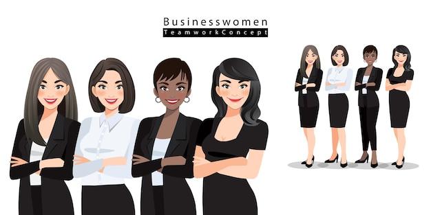 Geschäftsfrauen oder büroangestellte stehen mit verschränkten armen da. multinationales teamkonzept. verschiedene cartoon-frauen verschiedener rassen, hautfarbe in büro-outfits. Premium Vektoren