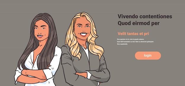 Geschäftsfraupaare falteten hände werfen blonde geschäftsfrauen des brunette auf Premium Vektoren