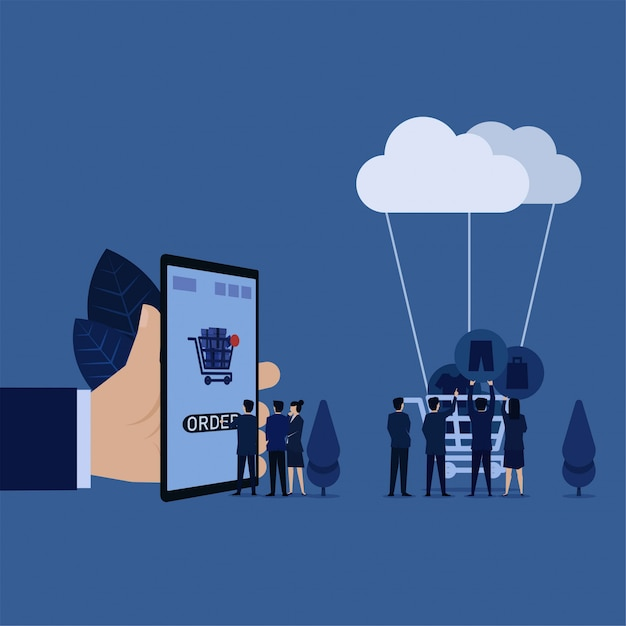 Geschäftsführer klicken sie auf bestellung auf handy, während andere kleidung jeans rabatt symbole auf warenkorb zu cloud-metapher der bestellung online verbunden. Premium Vektoren