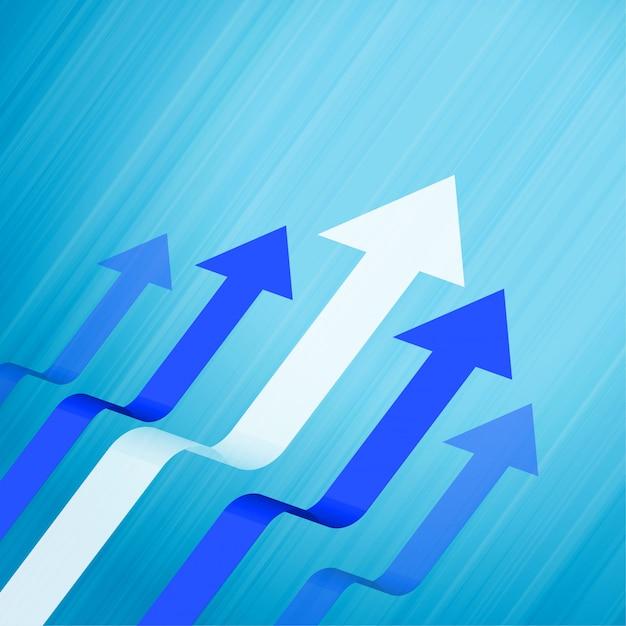 Geschäftsführung und blauer konzepthintergrund der wachstumspfeile Kostenlosen Vektoren
