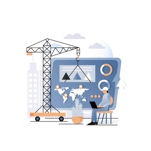 Geschäftsgebäudekonzept für netzfahne, websiteseite Premium Vektoren