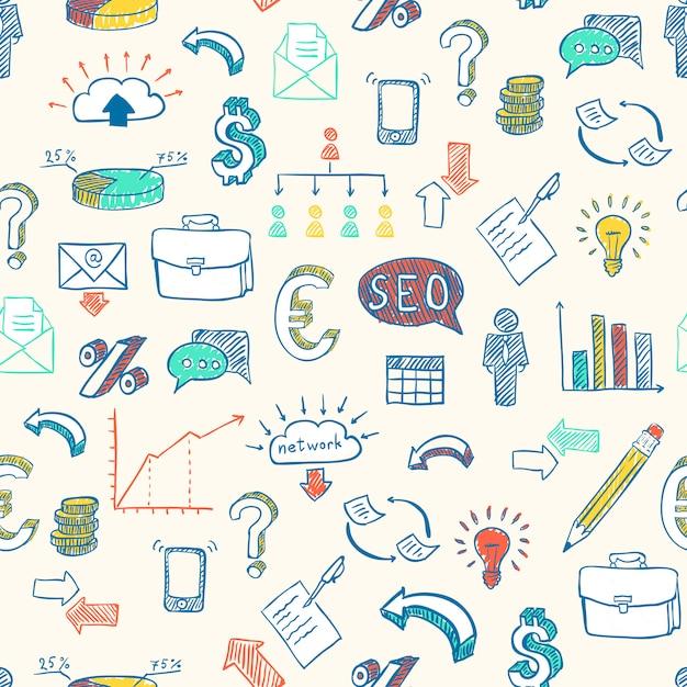 Geschäftsgekritzelmuster Kostenlosen Vektoren