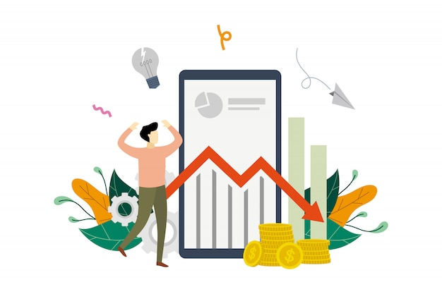 Geschäftsgewinnverlust, gewinnabnahme, marketing-einkommen unten flache illustrationsschablone des pfeilvorratdiagramms Premium Vektoren