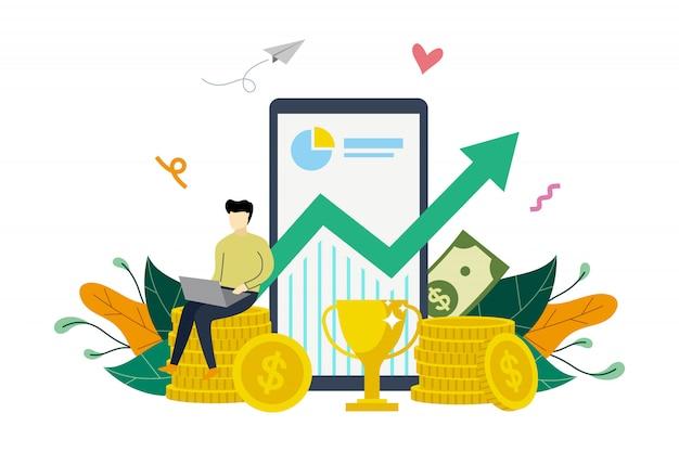 Geschäftsgewinnwachstum, gewinnsteigerung, finanzierung, die oben flache illustrationsschablone steigt Premium Vektoren