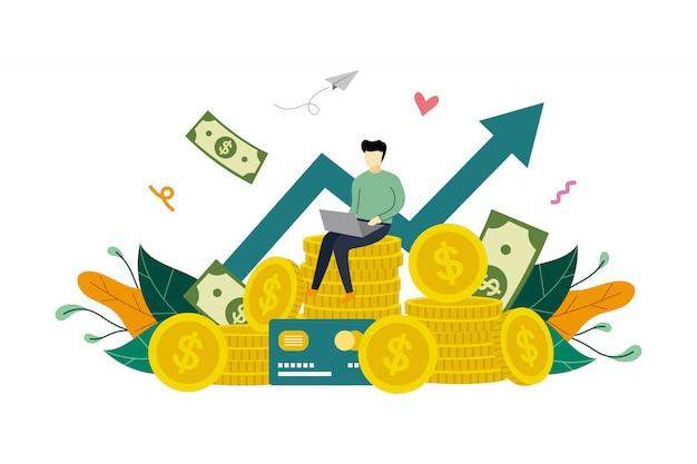 Geschäftsgewinnwachstum, gewinnsteigerung, münzenstapel und steigender diagrammpfeil herauf flache illustrationsschablone Premium Vektoren