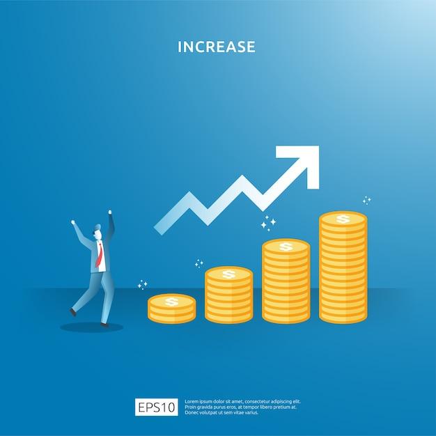 Geschäftsgewinnwachstum, verkauf steigern margenumsatz mit dollarsymbol. konzeptdarstellung zur erhöhung der einkommenslohnrate mit personencharakter und pfeil. finanzierungsperformance des return on investment roi Premium Vektoren