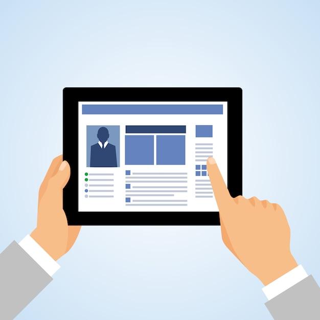 Geschäftshand, die tablet-computer hält und verwendet und die schirmkonzept-vektorillustration berührt Kostenlosen Vektoren