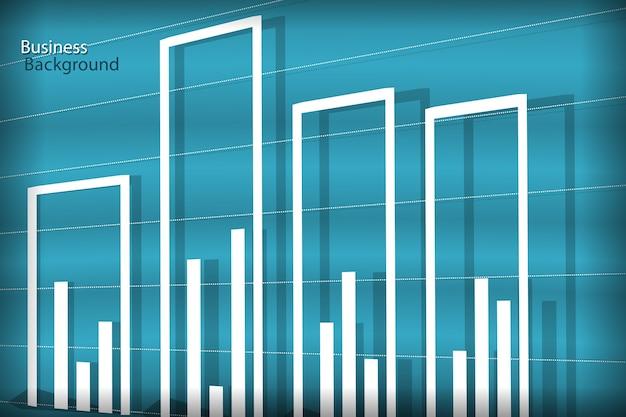 Geschäftshintergrund, weißes diagramm auf blauen wellen Kostenlosen Vektoren