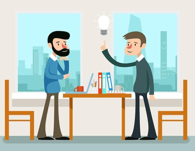 Geschäftsidee. geschäftsleute, die strategie diskutieren, die am schreibtisch stehen. ideendiskussion oder geschäftsmann-diskussionsstrategie, teamwork-meeting-konzept Kostenlosen Vektoren